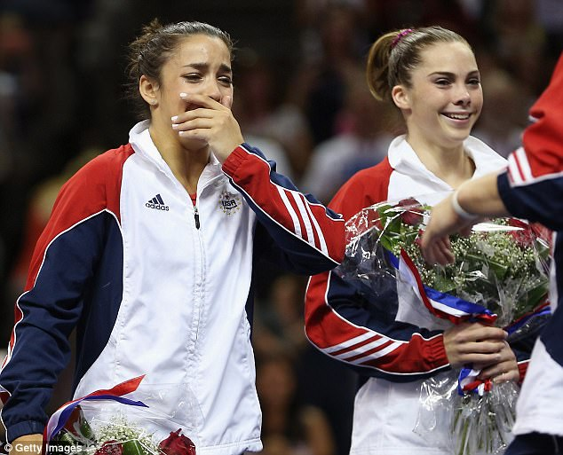 Latest claim:Raisman's accusations come one month after her London Games teammate McKayla Maroney said she too was abused by Nassar (Raisman and Maroney above after being named to the 2012 Olympic team)